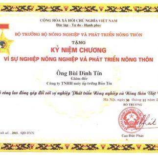 Máy ấp trứng Bảo Tín được Bộ NN&PTNN trao tặng